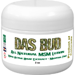 All Natural MSM Lotion With Hemp Extract 100 mg - Menthol Free - Das Bud - 2 oz